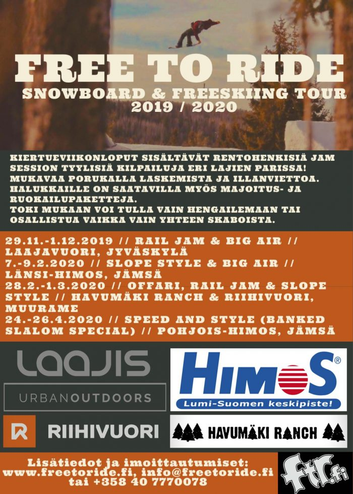Free to Ride Tour - Snowboard & Freeskiing Tour Laajavuoressa 29.11.-1.12.